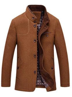 chouyatou Men's Gentle Band Collar Single Breasted Wool Blend Pea Coat, brown