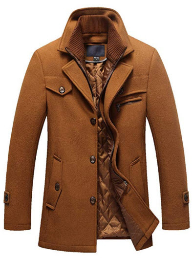 chouyatou Men's Gentle Layered Collar Single Breasted Quilted Lined Wool Blend Pea Coats