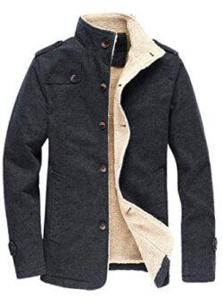 chouyatou Men's Military Button Front Sherpa Lined Heavyweight Trucker Jacket, dark grey