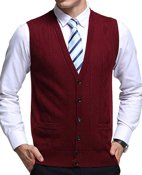 chouyatou Men's V-Neck Jacquard Lightweight Wool Knitwear Vest Sweater Waistcoat Pocket