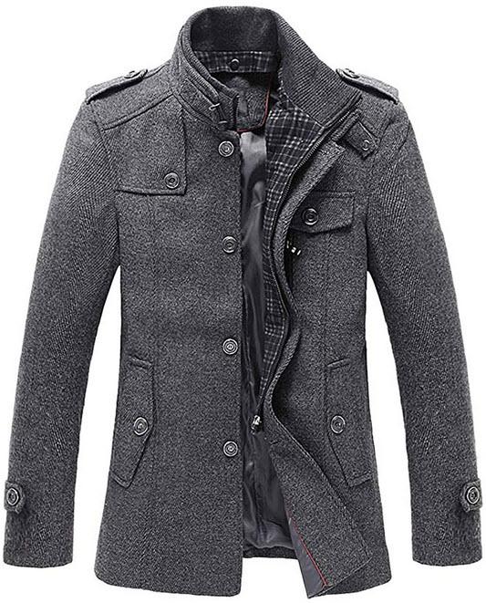 chouyatou Men's Winter Stylish Wool Blend Single Breasted Military Peacoat grey