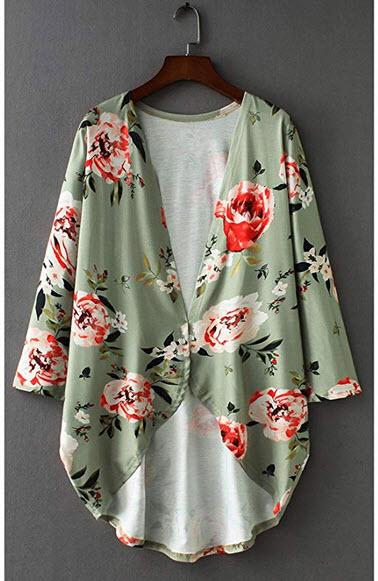 ChulaTinana Womens Floral Print Loose 3/4 Sleeve Kimono Cardigan Cover up Blouse S-XXXL green