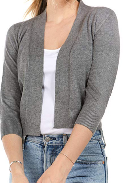 CIELO Women's Soft Solid Open Front 3/4 Sleeve Sweater Cardigan, grey