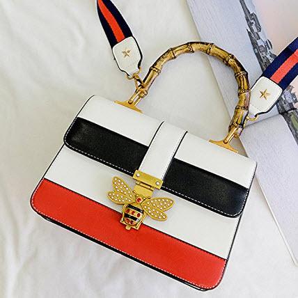 Circue Women's Bamboo Handle Designer Shoulder Bag PU Leather Top Handle Bag Crossbody Bag with  ...