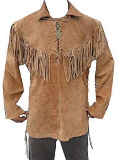 Classyak Leather Western Shirt, Fringes in Front, Back & Shoulders