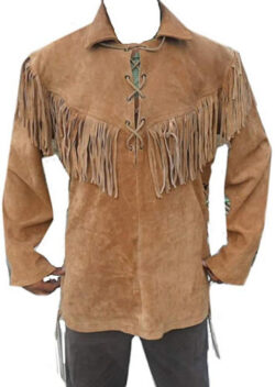 Classyak Leather Western Shirt, Fringes in Front, Back & Shoulders