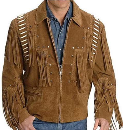 Classyak Men Western Leather Jacket Brown with Bones on Front and Back