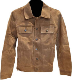Classyak Men's Fashion Buttoned Suede Leather Coat