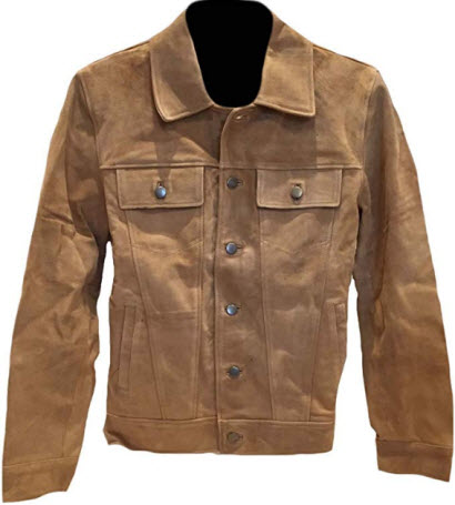 Classyak Men's Fashion Buttoned Suede Leather Coat