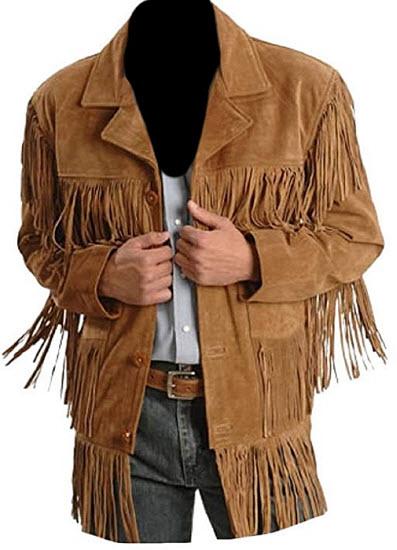 Classyak Men's Fashion Stylish Suede Leather Fringed Jacket, brown