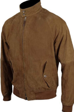 Classyak Men's Fashion Suede Leather Bomber Jacket