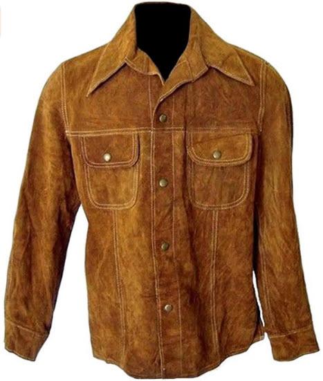 Classyak Men's Fashion Suede Leather Buttoned Coat