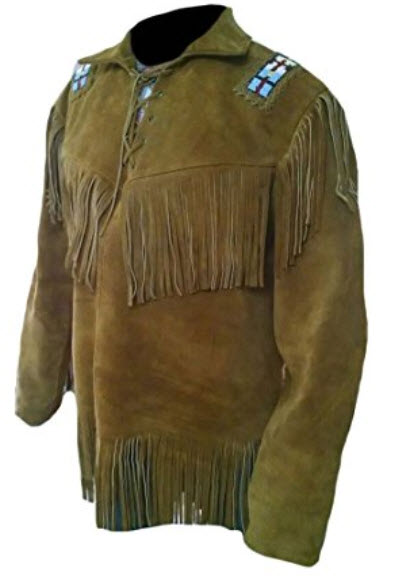 Classyak Men's Western Cowboy Fringed and beaded Brown Suede Shirt .