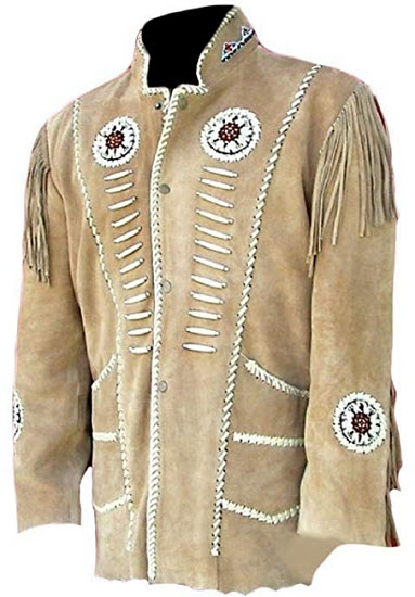 Classyak Men's Western Cowboy Fringed Motokit Suede Leather Jacket, beige