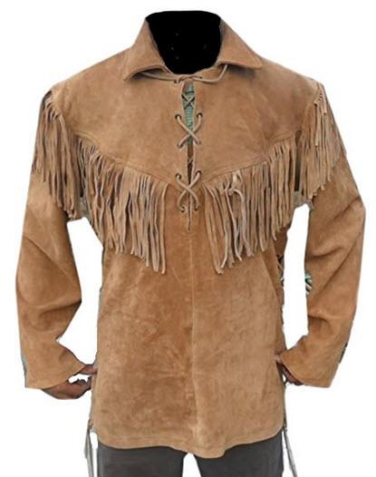 Classyak Men's Western Fringed Cowboy Leather Shirt .