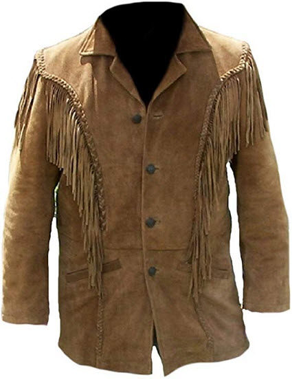 Classyak Men's Western Fringed Suede Coat