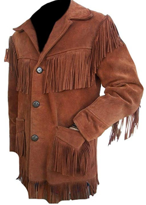Classyak Men's Western Stylish Suede Leather Jacket Fringed, brown