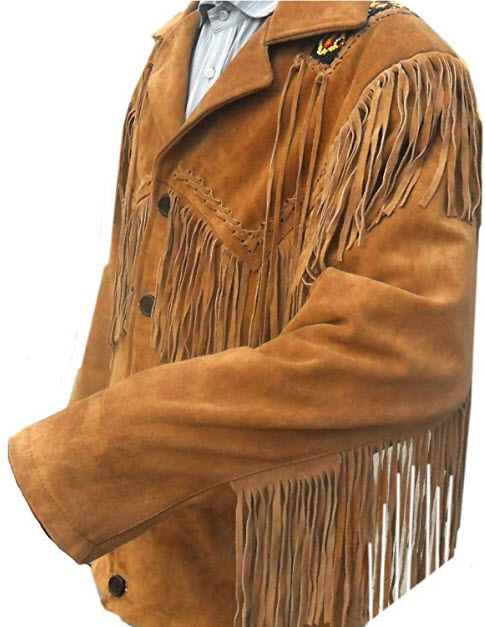 Classyak Western Genuine Leather Coat, Fringed & Excellent Bead Work, Xs-5xl