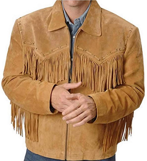 Classyak Western Leather Jacket Brown with Fringes Simple