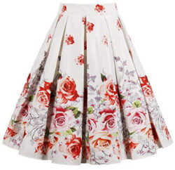 Cleaivy Women's Midi Pleated A Line Floral Printed Vintage Skirts, ivory rose