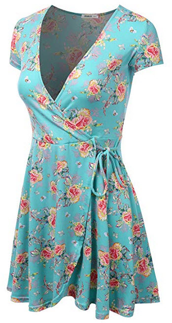 CLOVERY Womens Loose Fit A-Line Dress Floral & Solid Print Dress sage pink