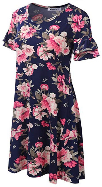 CLOVERY Women's Loose Fit Tunic Dress Floral & Solid Print Summer Dress navy pink