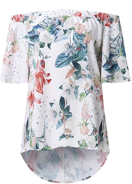 CNFIO Womens Off Shoulder Tops 3/4 Sleeve Shirt Floral Print Elegant Summer Tee Blouse, white