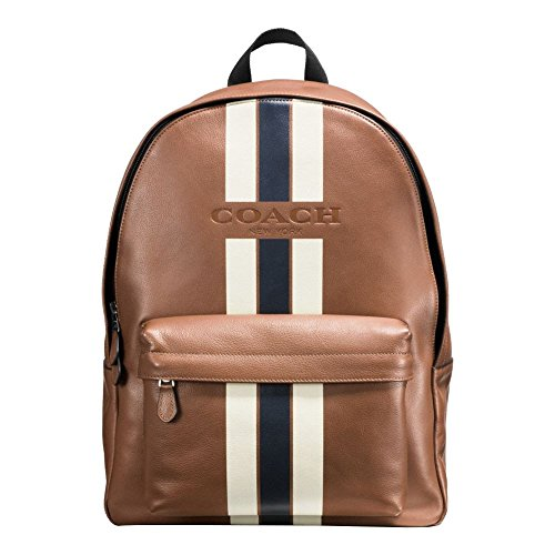 COACH CHARLES BACKPACK IN VARSITY LEATHER F72237, DARK SADDLE/MIDNIGHT