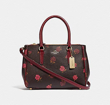 COACH F46282 MINI SURREY CARRYALL WITH TOSSED PEONY PRINT OXBLOOD