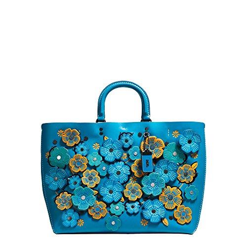 Coach 1941 Sac Rogue Open Lattice Tea rose Blue Pattern Floral Handbag Bag New