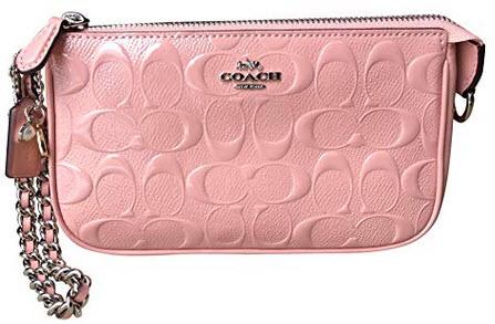 Coach Signature Debossed Patent Leather Large Wristlet petal
