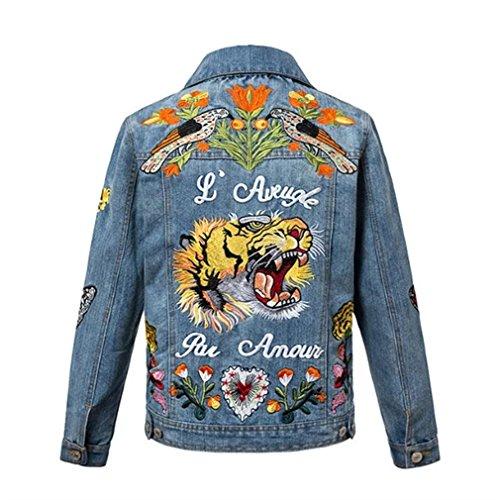 coatsa Bird Tiger Flower Embroidery Women's Denim Jacket Coat Coat