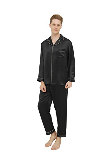 100% Cocoon Silk Men's Luxury Pajama Set,Long Sleeves Sleepwear Pajamas Loungewear