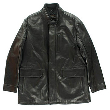 Cole Haan Mens Leather Ribbed Collar Jacket.