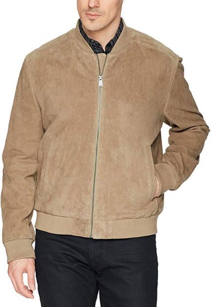 Cole Haan Men's Suede Leather Varsity Jacket