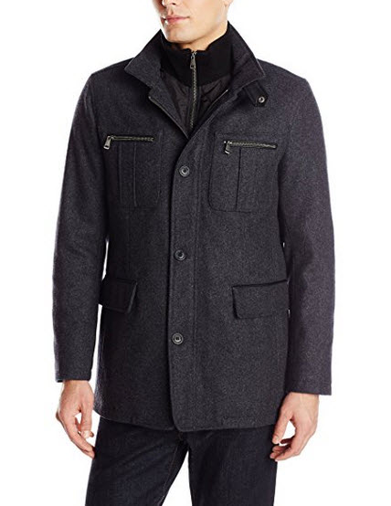 Cole Haan Signature Men's Wool Melton Coat with Nylon Bib.