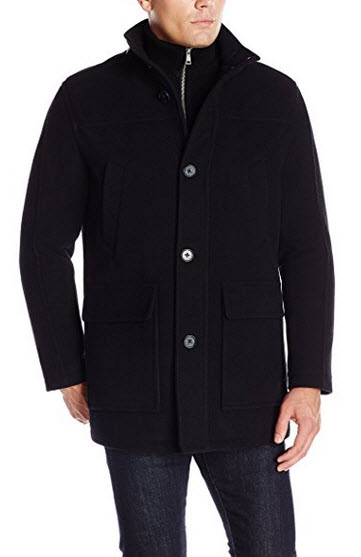 Cole Haan Signature Men's Wool Plush Car Coat with Attached Bib.