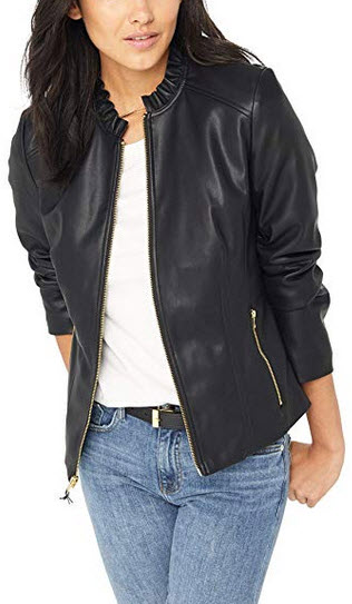 Cole Haan Womens Faux Leather Ruffle Collar Jacket black