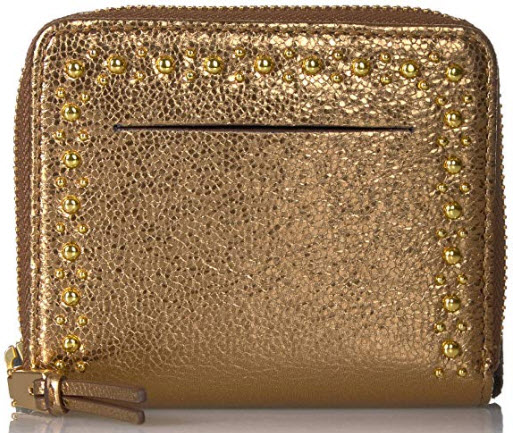 Cole Haan Women's Marli Glitter Studding Small Zip Wallet, bronze