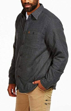 Coleman Flannel Sherpa Shirt Jacket, charcoal heather