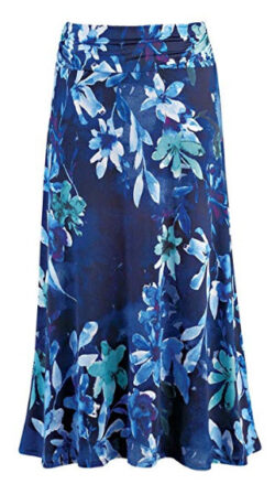 Collections Women's Dressy/Casual Floral Print Maxi Skirt with Elastic Waist, blue multi