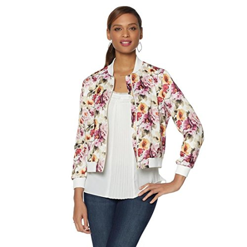 Colleen Lopez Floral Print Bomber Jacket 524-576