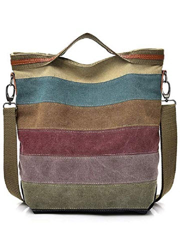 Colors of RainbowCanvas Handbag for Women Multi-Color Striped Lattice Cross Body Shoulder Purse Bag