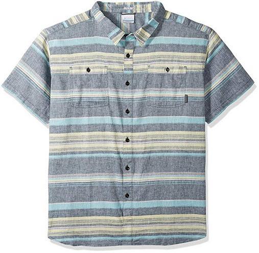 Columbia Men's Southridge Big & Tall Yarn Dye Short Sleeve Shirt poseidon stripe