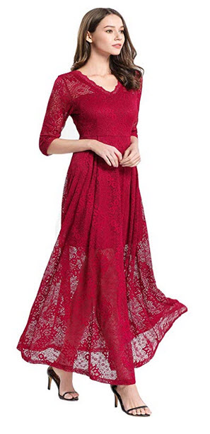 Convallaria Womens V- Neck Vintage Floral Lace Long Dresses with Half Sleeve for Wedding Cocktai ...