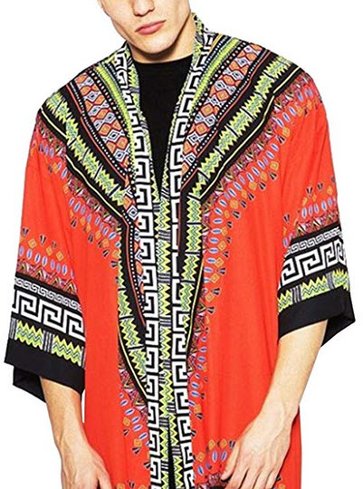 COOFANDY Mens African Dashiki Printed Ruffle Shawl Collar Cardigan Lightweight Long Length Drape ...