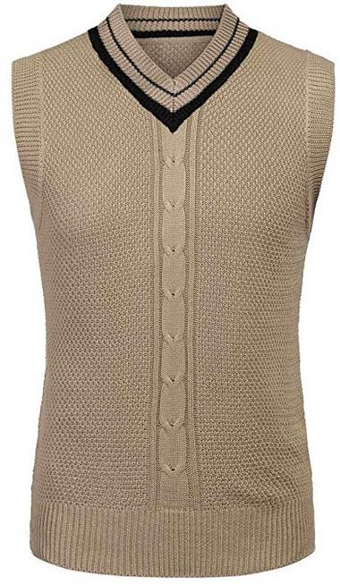 COOFANDY Men's Casual Knit Cotton Pullover Sleeveless Sweater Waistcoat Vest khaki