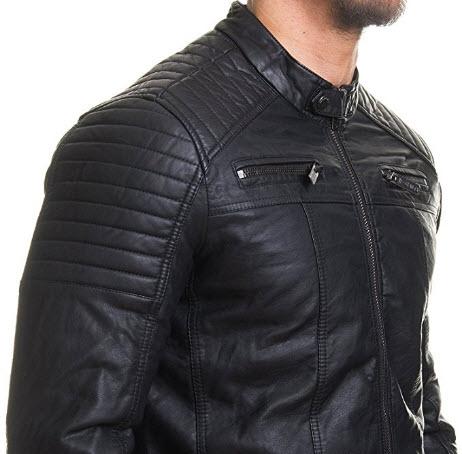 Coofandy Men's Classic Leather Motorcycle Jacket Winter Biker Jacket Black.