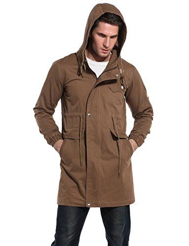 COOFANDY Men's Cotton Windbreaker Jacket Casual Trench Coat Winter Outdoor Coat With Hood