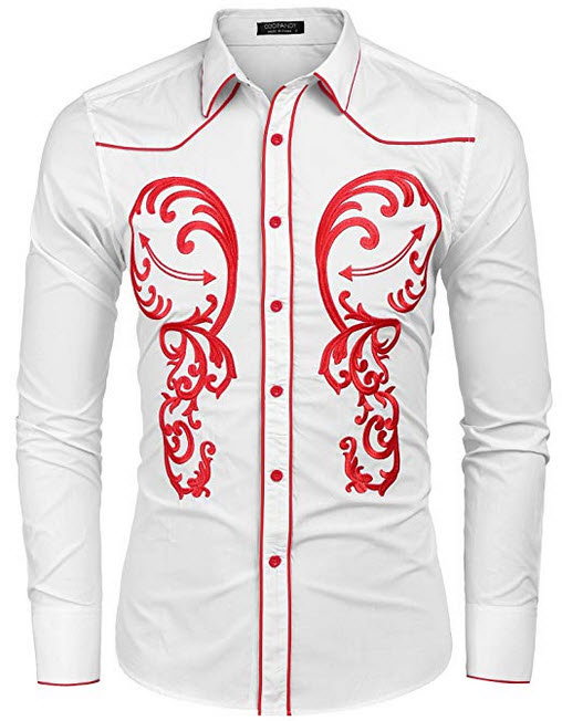 COOFANDY Men's Cowboy Western Embroidered Shirt Long Sleeve Button Down Shirts white